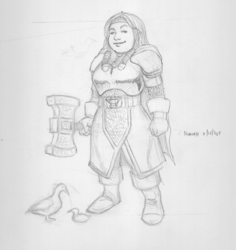 Hodarah, Forge Cleric and her wooden duck