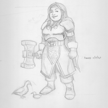 Hadorah, Forge Cleric and her wooden duck